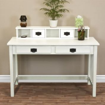 Best Choice Products® Mission White Solid Wood Writing Desk Home Office Computer Desk