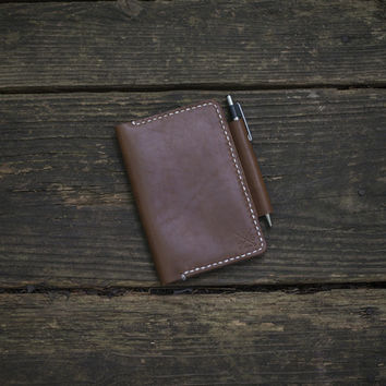 FIELD NOTES / MOLESKINE LEATHER NOTEBOOK COVER, NUT BROWN