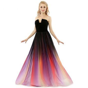 New Gradient Chiffon Backless Sleeveless A Line Long Evening Dresses Off Shoulder Formal Evening Gowns