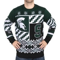 Unisex Klew Green Michigan State Spartans Thematic Ugly Sweater