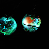 Glow In The Dark Glass Marble Galaxy Necklace