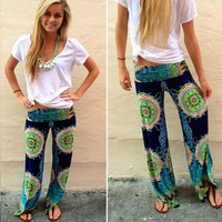 New Women Casual Boho Floral Harem Yoga Running Loose Long Pants Trousers = 1932003332