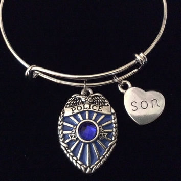 Police Badge Blue Crystal Son Expandable Silver Charm Bracelet Adjustable Wire Bangle Gift Trendy