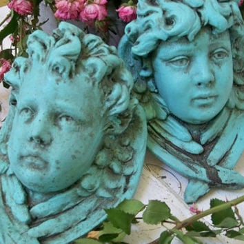 Cherub head sconce set candle holder French chic wall decor distressed dramatic colors Anita Spero