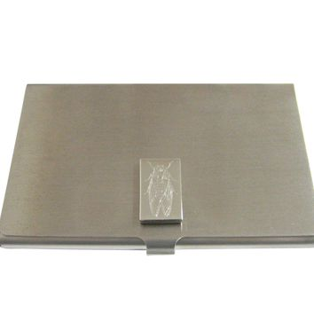 Silver Toned Etched Cicada Bug Business Card Holder
