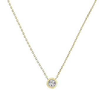 0.07ct Bezel Round Diamonds in 14K Gold Solitaire Pendant Necklace 18""