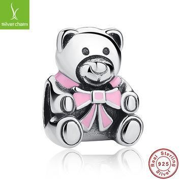 100% 925 Sterling Silver Girl Teddy Bear Charm Fit Original Pandora Bracelet Necklace