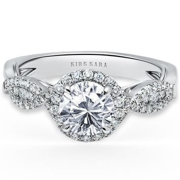 "Kirk Kara ""Pirouetta"" Split Shank Twist Halo Diamond Engagement Ring"