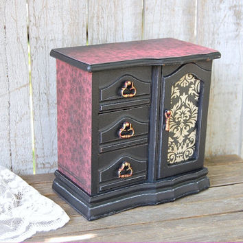 Jewelry Box, Jewelry Armoire, Shabby Chic, Black, Red, Decoupage, Hand Painted, Damask, Distressed, Upcycled