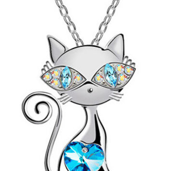 Super Cute 18K Gold plated zircon rhinestones cat catty Pendant Necklace For Cat Lovers