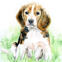Watercolor Painting Beagle Original Watercolor 9 x 12