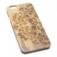 Retro Floral Real Wood EngravediPhone 6s Case iPhone 6 Case iPhone 6s 6 Plus Cover Natural Wooden iPhone 5s 5 Case Samsung Galaxy S6 S5 Case D100