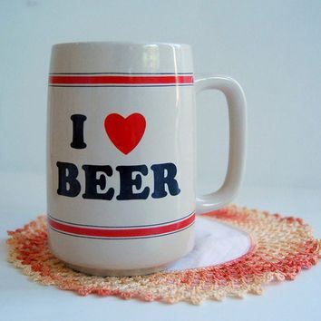 I HEART BEERvintage 70s beer mug coffee cup by vintagemarmalade