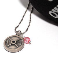 Weight Plate Charm and Pink Crystal Necklace - FIT and FEMININE Workout Necklace