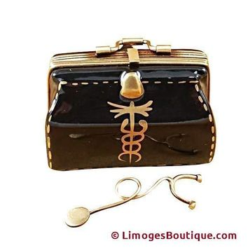 DOCTOR'S BAG W/STETHOSCOPE LIMOGES BOX