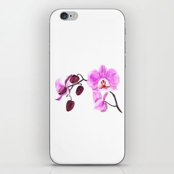 pink orchid flower watercolor painting  iPhone & iPod Skin by Color and Color