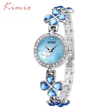 KIMIO Ladies Lucky Clover Love Crystal Strap Austrian Drilling Women Watches 2017 Luxury Brand Quartz Watches Woman Dress Clock