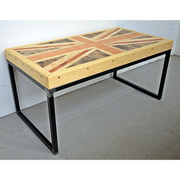 Union Jack Coffee Table Rustic Reclaimed From Sonder Mill