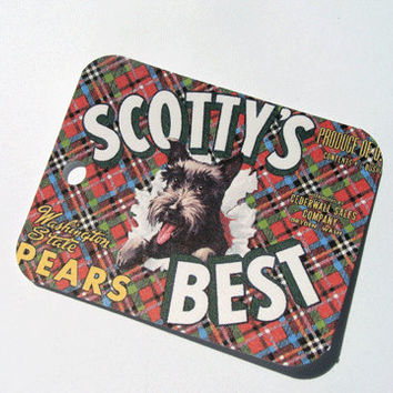 Plaid Scottie Tags - Set Of 6 - Vintage Tags - Scottie Dog Tags - Vintage Ad Tag - Thank Yous - Animal Tags - Red Plaid Tags