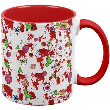 Halloween Zombie Elements Pattern Red Handle Coffee Mug