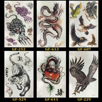 6 PCS/ lot Waterproof Temporary Tatto For Women Men Arm Sticker Sleeve Body Tattoo Shoulder Tattoos