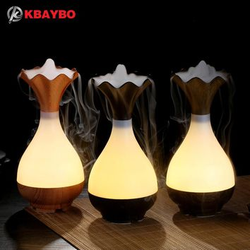 USB Wood Vase Essential Oil Diffuser & Humidifier for Aromatherapy