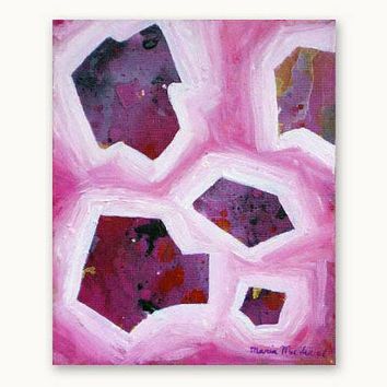 Original abstract pink painting in mixed media. Pretty Pink - Small painting, affordable wall art