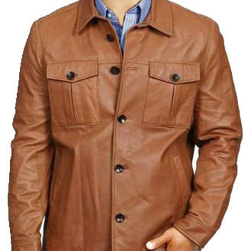 Tan brown buttoned leather jacket