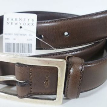 NWT BARNEYS NEW YORK MENS BROWN LEATHER BELT ITALY Size 38 Antique Silver Buckle