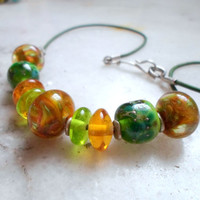 Handmade Lampwork Jewelry, Artisan Glass Beaded Statement Necklace Gift Ideas For Her