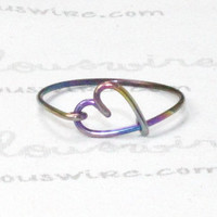Rainbow Heart Ring, Rainbow Niobium Wire Love Heart Ring, Infinity Love and Friendship Jewelry, Lovers bridesmaids Gift