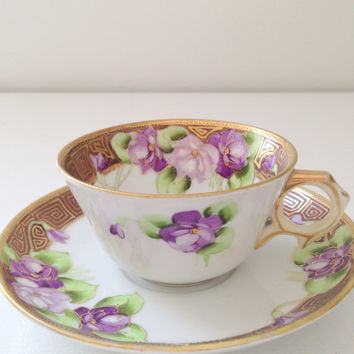 Antique Hand Painted Nippon Tea Cup and Saucer Thank You or Housewarming Gift Inspiration Circa 1900's