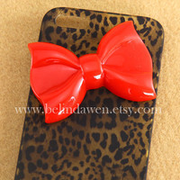 IPhone 5 case, Leopard Decal iPhone 5 Hard Case, cheetah iphone 5 case with pastel red bow case