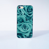 Blue Green Rose Flower Plastic Case Cover for Apple iPhone 5s 5 6 Plus 6 4 4s  5c