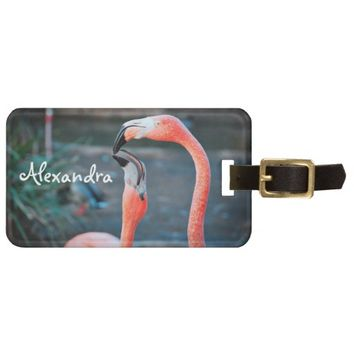 Pink peach flamingos photo custom name luggage tag