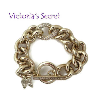 Victoria's Secret Bracelet - Rhinestone Chain Link, Chunky Gold Tone Bangle, Christmas - Birthday Gift, Gift Box, FREE SHIPPING