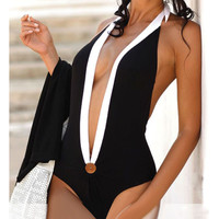Halter Cut-Out Backless Swimsuit