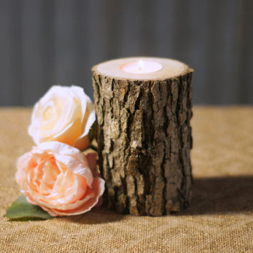 Log Candle Holder - Rustic Decor - Coworker Gift - Teacher Gift - Hostess Gift - Tree Branch Candle - Rustic Home Decor - Primitive Decor