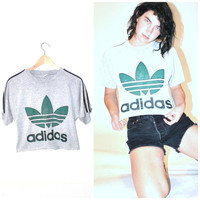 80s ADIDAS Tshirt / vintage 1980s soft FADED thin ATHLETIC grunge crop top small medium