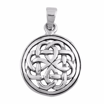 "Sterling Silver Celtic Pagan Wicca Pendant 28MM (FREE 18"" Chain)"