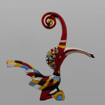 "Borneo Hornbill Sculpture 15"" Tall Bird Wood Carving.Borneo Sacred Majestic Wildlife Tribal Iban Hornbill Effigy/Dayak Kenyalang Statue"