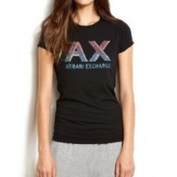 Armani Exchange Womens Beaded Logo Tee:Amazon:Clothing