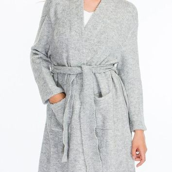 Belted Sweater in Grey