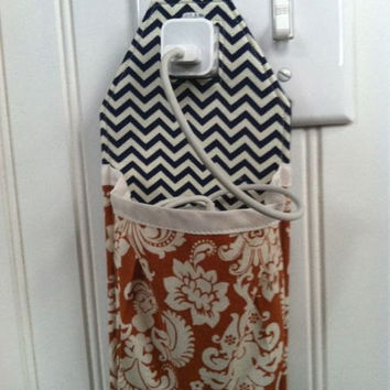 Docking Station for iPhone 5 iPhone 4 iPod touch iPhone 4S navy and off white chevron pattern with orange and off white damask