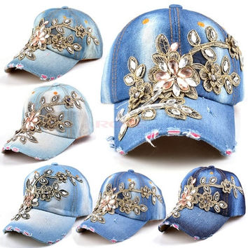 Adjustable Baseball cap Fashion Leisure Rhinestones Flowers Jean Snapback Baseball Hat Cap SV005353 Apparel & Accessories