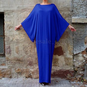 ZANZEA Women's Batwing Sleeve Loose Muslim Casual Solid Long Maxi Dress Fit Plus