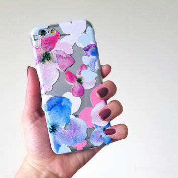 Watercolor Flowers iPhone 6 Case, pastel phone case, iphone 5 case, flexible phone cover, transparent silicone iphone case, floral galaxy s6