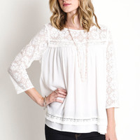 Lace Baby Doll Top - Off White