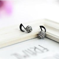 Rhinestone Music note and Round Shape Stud Earrings BDP 0618
