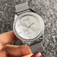 GUESS New Fashion Dial Letter Diamond Round Shell Leisure Personality Watch Wristwatch